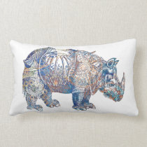 Colorful Vintage Rhino Illustration Lumbar Pillow
