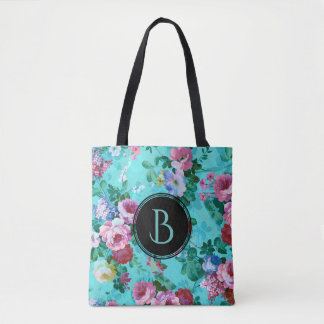 Colorful Vintage Roses Floral Collage Tote Bag