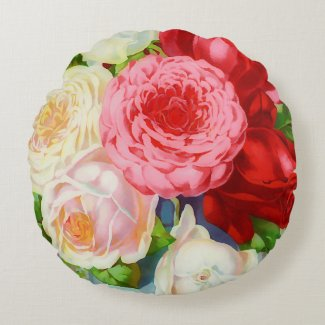 colorful vintage roses round pillow