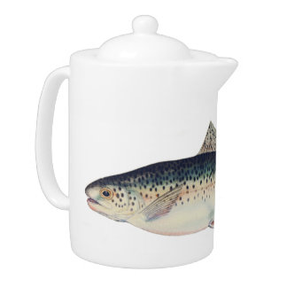Colorful vintage salmon illustration teapot