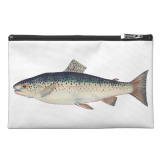 Colorful vintage salmon illustration travel accessory bag