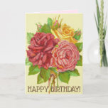 [ Thumbnail: Colorful Vintage Style Flowers Birthday Card ]
