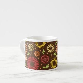 Colorful vintage sunflowers 6 oz ceramic espresso cup