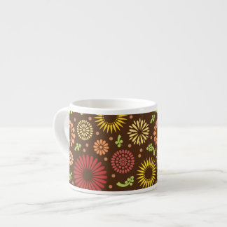 Colorful vintage sunflowers espresso cup