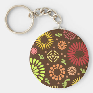 Colorful vintage sunflowers keychain