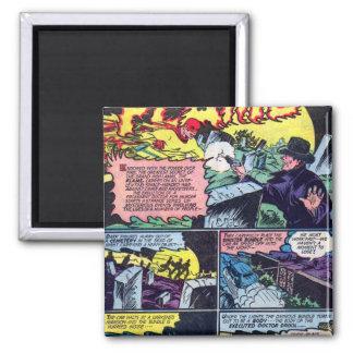 Colorful Vintage Superhero The Flame Villains 2 Inch Square Magnet