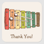 Colorful Vintage Toy Xylophone Baby Shower Square Sticker