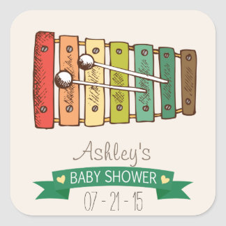 Colorful Vintage Toy Xylophone Baby Shower Square Stickers