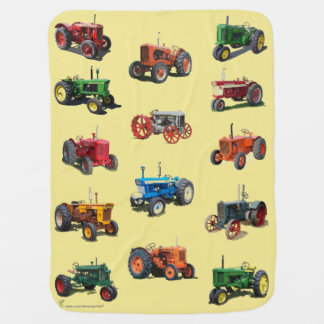 Colorful Vintage Tractor Blanket - yellow