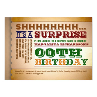 colorful vintage typography birthday invitations