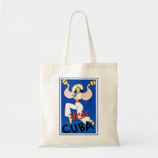Colorful Vintage Visit Cuba Dancer Tote Bag