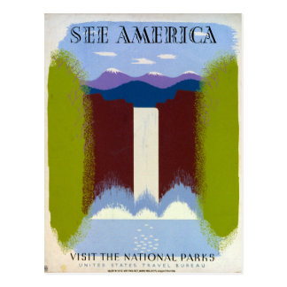 Colorful Vintage Waterfall and Mountains WPA Postcard