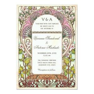 Colorful Vintage Wedding Invitations Art Nouveau 5