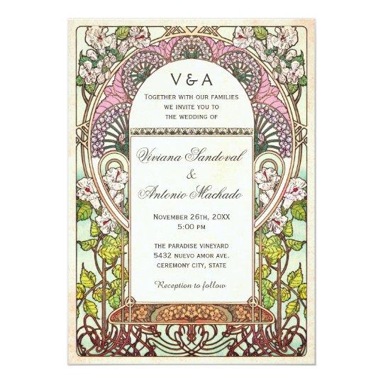 colorful vintage wedding invitations art nouveau zazzle com