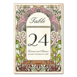 Colorful Vintage Wedding Table Numbers Card