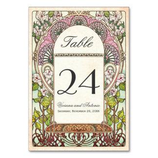 Colorful Vintage Wedding Table Numbers Card