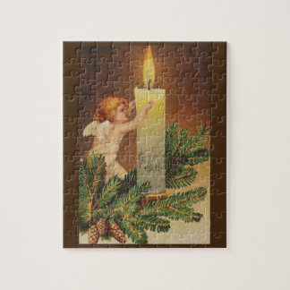 Colorful vintage white Christmas angel puzzle