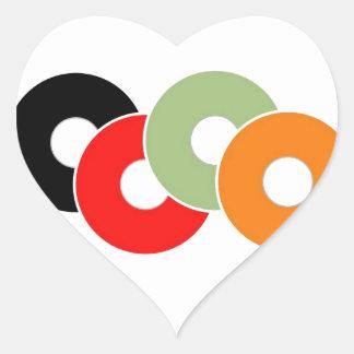 Colorful vinyl heart sticker