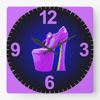 COLORFUL VIOLET HIGH WEDGIE WOMANS SHOE CLOCK