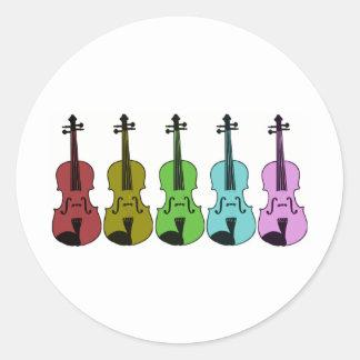 Colorful Violin Round Sticker
