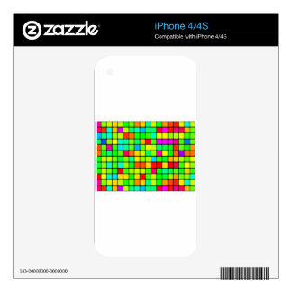 Colorful Vivid Design Retro Squares iPhone 4S Decals