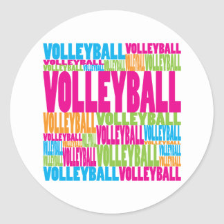 Colorful Volleyball Classic Round Sticker