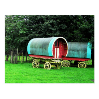 Colorful wagons.  Bunratty Village, Ireland Postcard