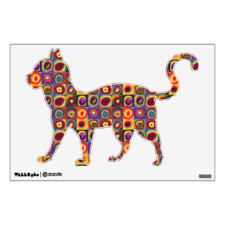 Colorful Walking Cat Wall Decal