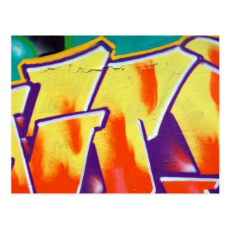 colorful wall graffiti postcard