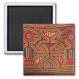 Colorful Wall Hanging of Cuna Indians 2 2 Inch Square Magnet
