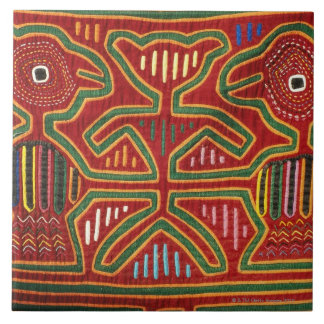 Colorful Wall Hanging of Cuna Indians 2 Large Square Tile