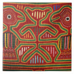 Colorful Wall Hanging of Cuna Indians 2 Ceramic Tiles