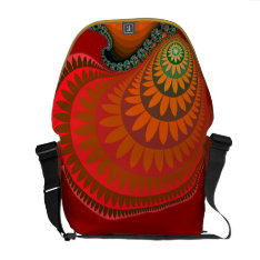 Colorful Warm Orange Mayan Sunflower On Messenger Courier Bag at Zazzle