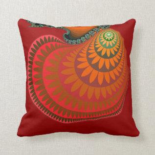 Colorful Warm Orange Mayan Sunflower Throw Pillow at Zazzle