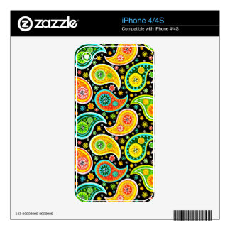 Colorful Warm Tones Vintage Paisley Pattern Decal For The iPhone 4