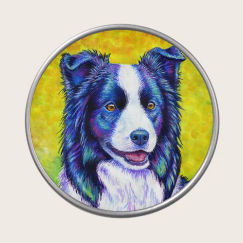 Colorful Watchful Border Collie Dog Candy Tin