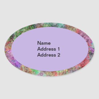 Colorful Water Color Swirl Mist Oval Sticker