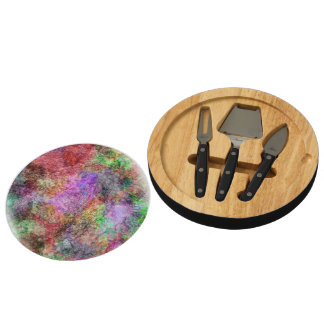 Colorful Water Color Swirl Mist Round Cheeseboard