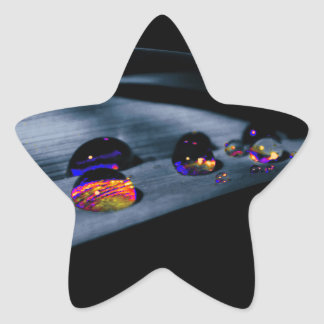 Colorful Water Drops Star Sticker