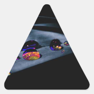 Colorful Water Drops Triangle Sticker