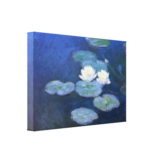 colorful Water Lilies in pond by Claude Monet Canvas Print