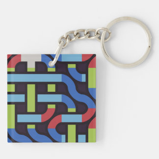 Colorful water pipes abstract design keychain