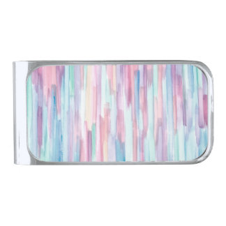 Colorful Watercolor Abstract Pattern Silver Finish Money Clip