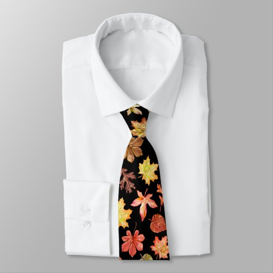 Colorful watercolor autumn leaves pattern neck tie