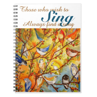 Colorful Watercolor Birds Spiral Notebook