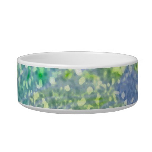 Colorful Watercolor Blue Abstract Glitter Cat Bowls