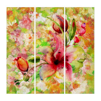 Colorful Watercolor Botanical Floral Illustration Triptych