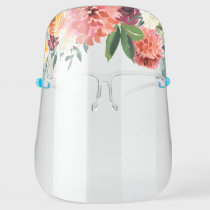 Colorful Watercolor Botanical Flower Crown Face Shield