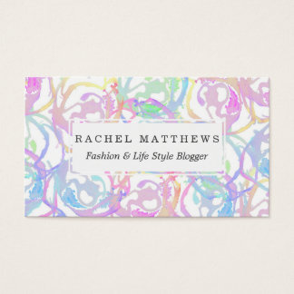 Colorful Watercolor Brushstroke Abstract Circles Business Card