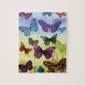 Colorful watercolor butterflies illustration jigsaw puzzle